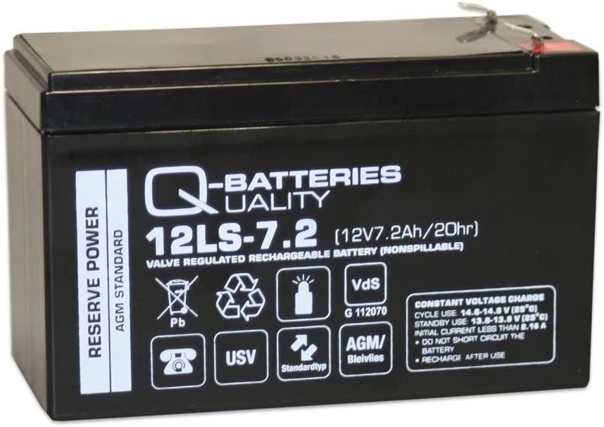 Q Batteries 12ls 7 2 F1 12v 7 2ah Lead Fleece Battery Agm Vrla With Vds Elektronik