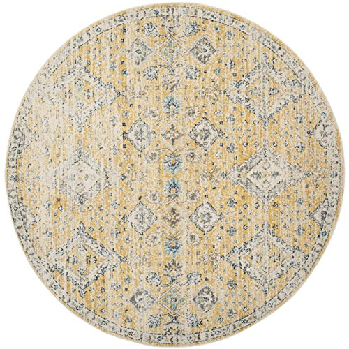 Ivory Gold Area Rugs (Safavieh Evoke Collection EVK224B Contemporary Bohemian Gold and Ivory Round Area Rug (6'7