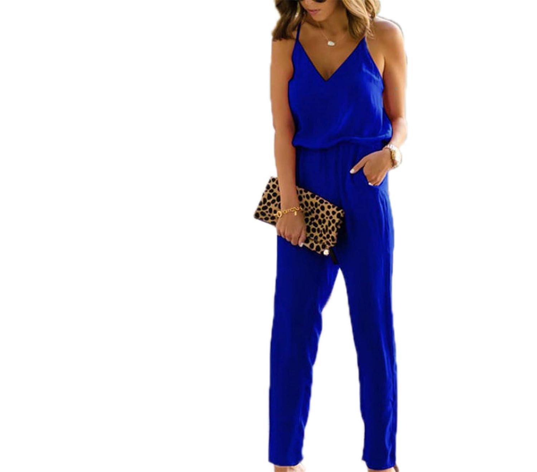 Anewsex Womens Spaghetti Strap V Neck Wide Leg Jumpsuit Romper Trousers Clubwear