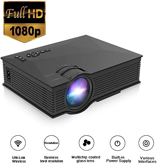 Mengen88 Mini proyector portátil LED, WiFi inalámbrico 1200 Lumen ...