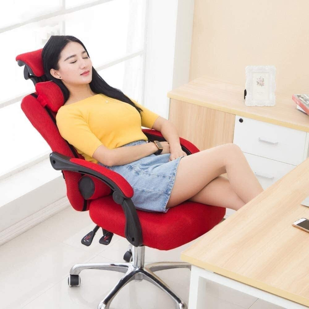 GSN Chair Mesh Hög rygg Swivel kontorsstol andas Mesh Multifunktionell Rest Double Pillow avslappnad och bekväm liggande Lager Vikt 150kg (Color : Blue) Red