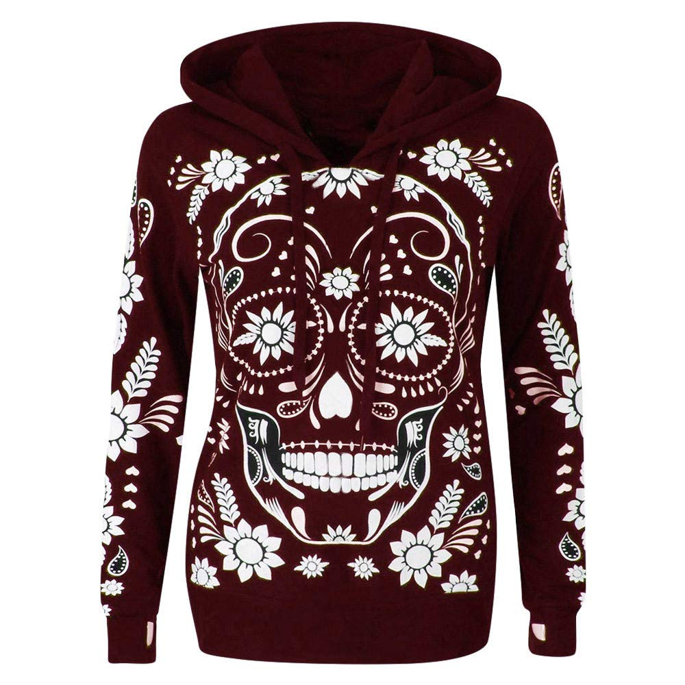 Shusuen Womens Long Sleeve Pullover Graphic Hoodie Sweatshirts Skull Print Pullover Hooded Red by Shusuen_Clothes