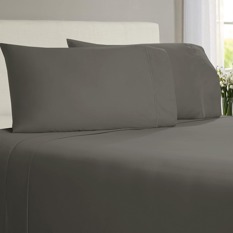 Bamboo Sheets King - Skin Friendly And Anti Bacterial Sheets- 100 % Bamboo Sheet Set - Softest Bed Sheets By Linenwalas, India (King, Grey)