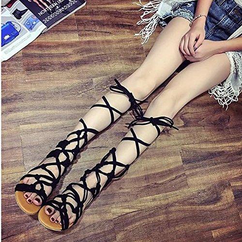 Spartiates Taille Genou Lacet à ZhengYue d'Eté Sandales Lanières Plat Chaussures Femmes Nior qtFqgU