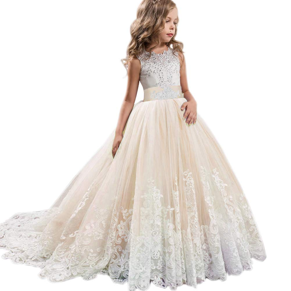 5d73d8c6fdf27 LZH Girls Pageant Embroidery Dress Princess Wedding Party Communion Prom  Ball Gown Dresses
