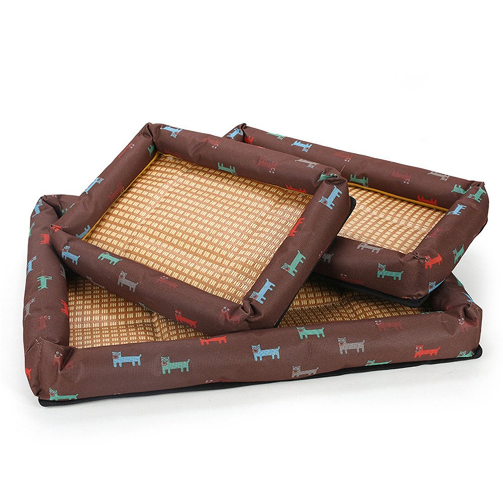 Brown 8565cm brown 8565cm Hoxekle Bamboo Pet Dog Mat Summer Puppy Cooling Foldable Bed Mat Pad Bed Blanket for Summer Pet Bed Accessories, 1pcs