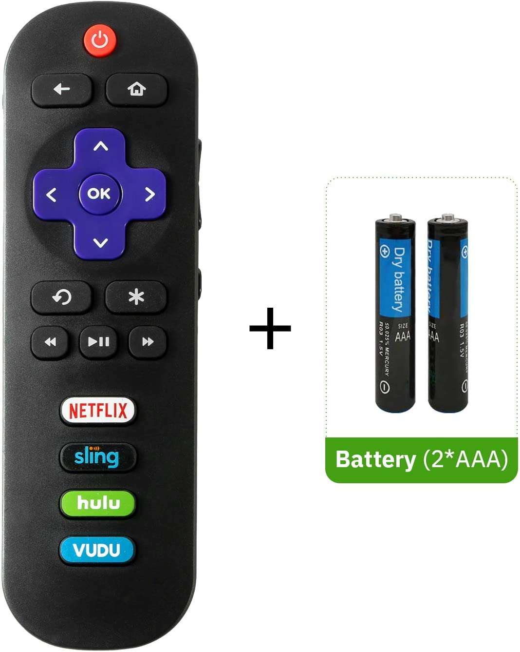 Bedycoon Replacement Remote Control and Batteries Compatible with All TCL Roku TV. with Sling and Hulu Shortcuts