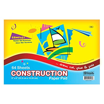 "BAZIC 64 Ct. 6"" X 9"" Mini Construction Paper Pad : Scratch Paper Pads : Office Products"