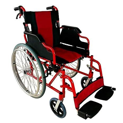 Mobiclinic, modelo Torre, Silla de ruedas para minusválidos, plegable, ortopédica, de aluminio, freno en manetas, reposapiés, reposabrazos, color Rojo ...