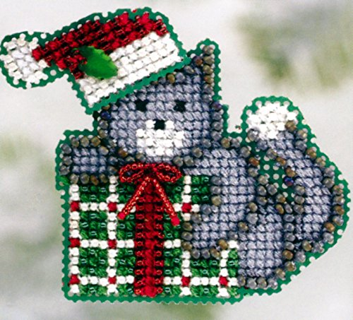 Kitty's Gift Beaded Counted Cross Stitch Christmas Ornament Kit Mill Hill 2006 Winter Holiday MH18-6305 ()