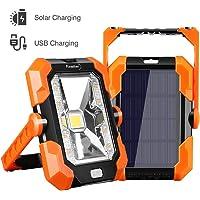Finether Luz de Trabajo Foco LED Recargable de Solar y USB, Lámpara de Trabajo Impermeable IP64, 4 Modos de Iluminación…