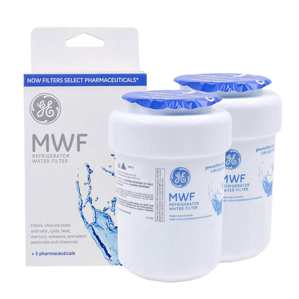 GE MWF Smart Refrigerator Water Filter, Replacement for MWF, MWFA, MWFP, GWF, GWFA, Kenmore 9991, 46-9991, 469991 [2 Pack]