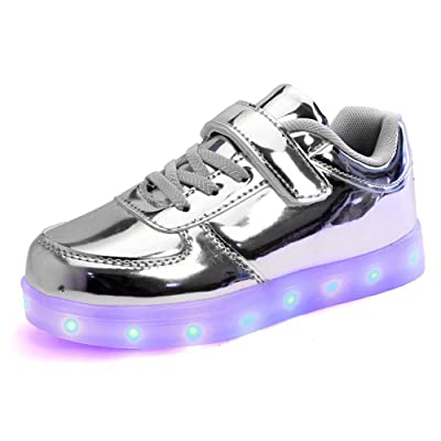 7-Color-Lights USB Charging LED Shoes Light up Fashion Sleek surface Luminous Sneakers for kids boys girls