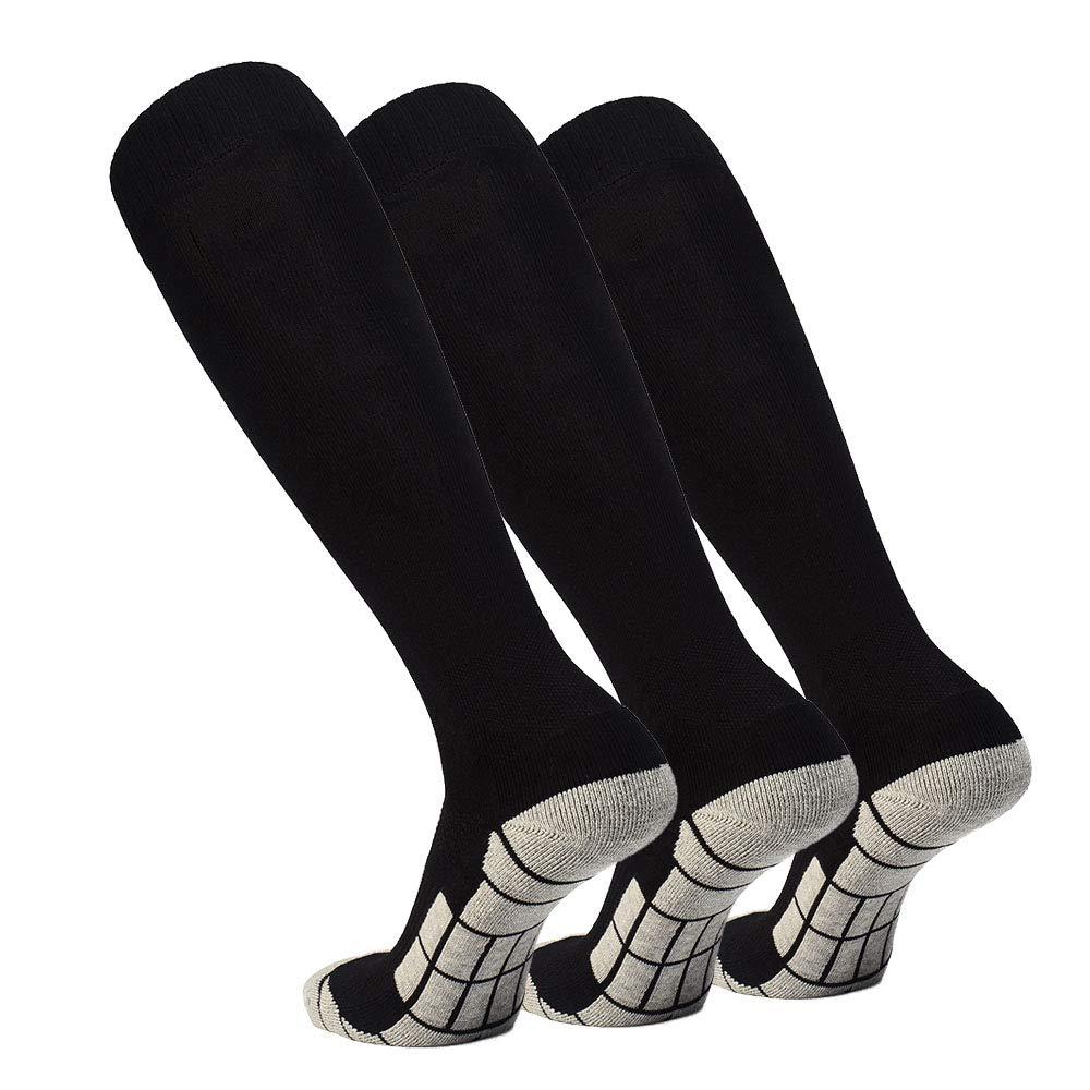 Soccer Socks High Tube Long Knee Football Sport Socks for Adult Youth Kids (3 Pairs Black, Samll) by DONGAN