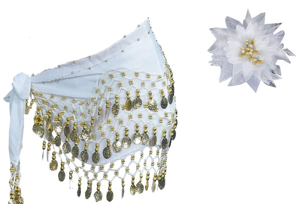 新しい年新しいDeals 2つで1つ128ゴールドコインベリーダンスヒップスカートMatchingフェザーヘッドドレス花 – - The Bestダンスアクセサリーセット B00RZMZM2C ホワイト