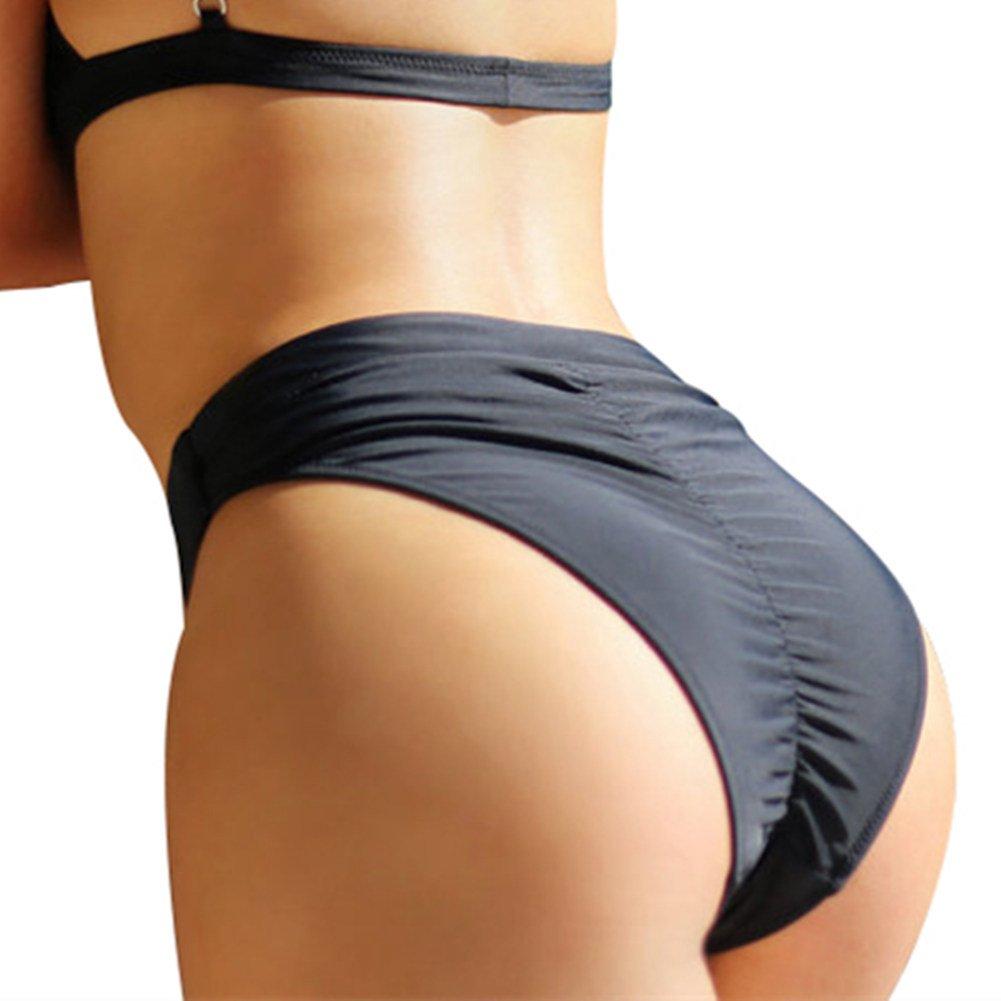 a57dcb32c95 Amazon.com  CENG MAU Womens Vintage High Waisted Bikini Bottoms Brazilian  Ruched High Cut Tankini Panites(BK