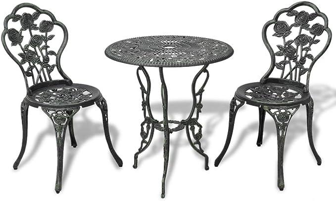 vidaXL Juego de Mesa y Sillas Bistro Jardín Aluminio Verde Muebles de Patio: Amazon.es: Jardín