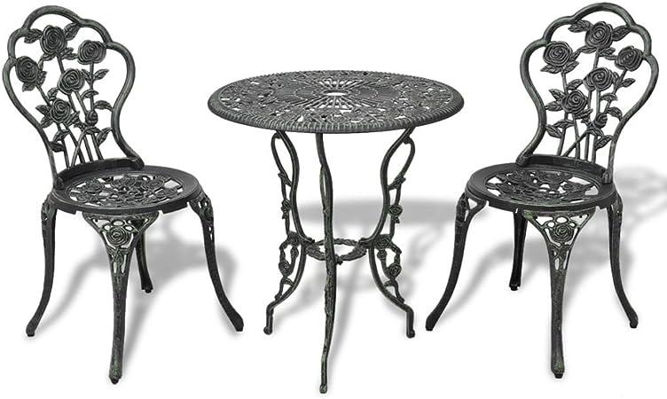 Terasse et Jardin COSTWAY Ensemble Bistrot pour Jardin 3 Pi/èces en Aluminium Salon de Jardin 2 Chaises et 1 Table Parfait pour Balcon