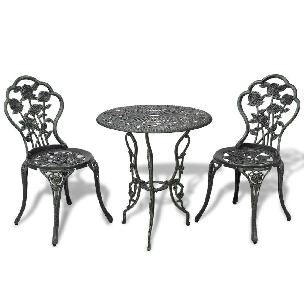 vidaXL 9 Piece Bistro Set Green Cast Aluminium Garden Furniture Table Chair