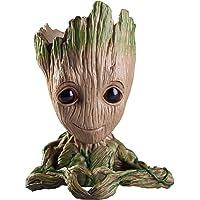 Uneeke Shape Marvel Avengers Infinity War Pot Baby Groot Wooden Look Tree Flowerpot Pen Container Toy Gift - Heart Design (Multi)