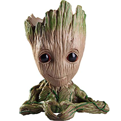 Unique Shape Marvel Avengers Infinity War Pot Baby Groot Wooden Look Tree Flowerpot Pen Container Toy Gift Heart Design Multi