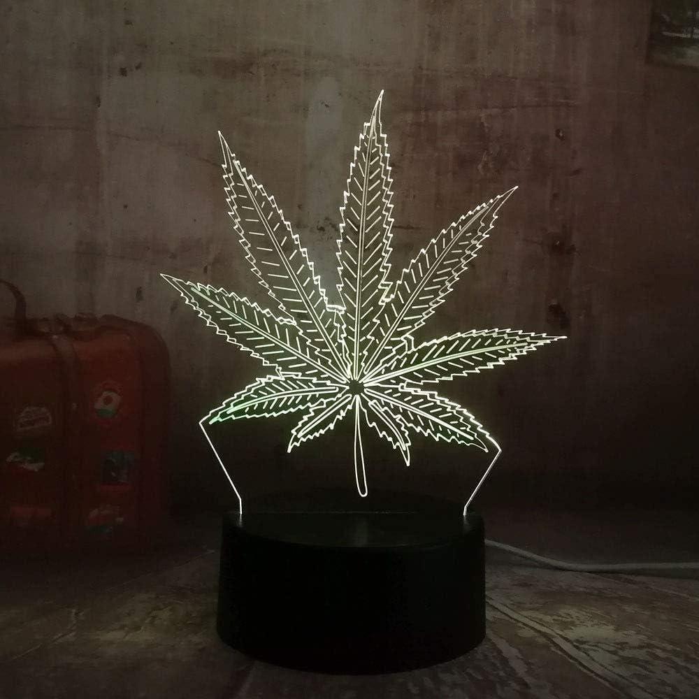 Lámpara de ilusión 3D Marihuana Hoja de cáñamo Lámpara LED 3D Decoración del hogar Lámpara de luz de noche de sueño Mesa de escritorio Regalos de vacaciones Juguete Flash Decoración de fiesta Lava
