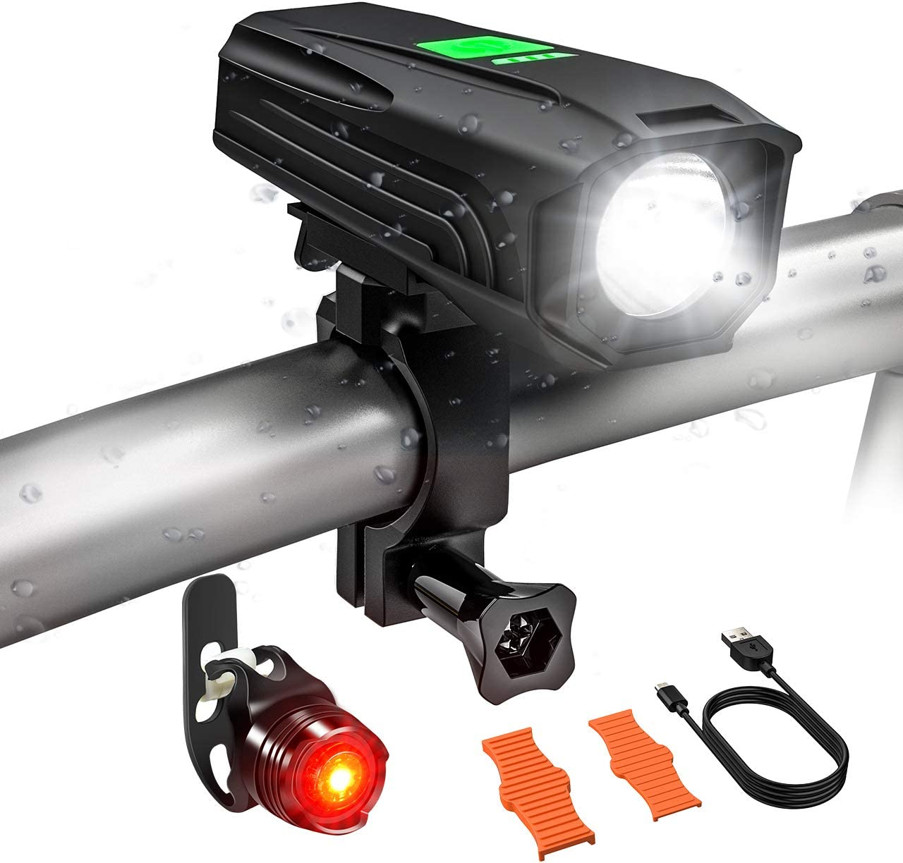USB Rechargeable Bike Light Set, Runtime 5 Hours 450 Lumens LED Super Bright Front Light with Free Tail Light, Waterproof, 5 Light Mode and Easy to Install Fits All Bicycles