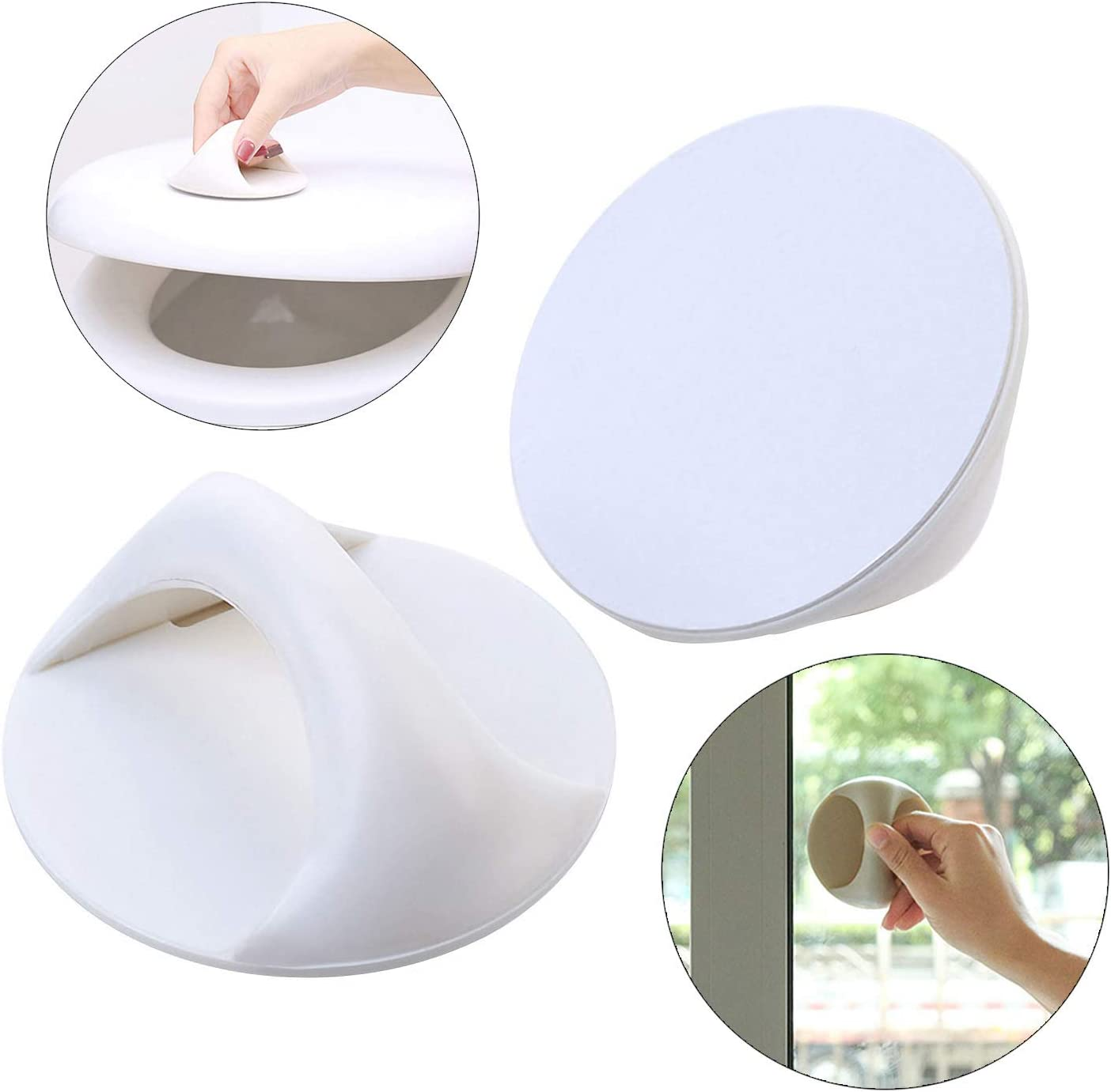 ANFUN 2 Self-Stick Instant Cabinet Drawer Handle Instant Adhesive Carry Handle Round White Drawer Opening Stick Knobs Helper Auxiliary Kitchen Cabinet Door Window Handle Convenient Opening Stick-on Ha