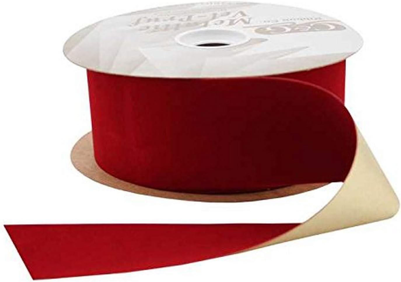 Berwick Offray Metallic Vel-Pruf Ribbon 2-1//2 W X 25 Yards-Holiday Red