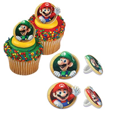Bakery Crafts DecoPac Super Mario Cupcake Ring Party Favor Decorations, Random Assortment (24 Pack): Toys & Games