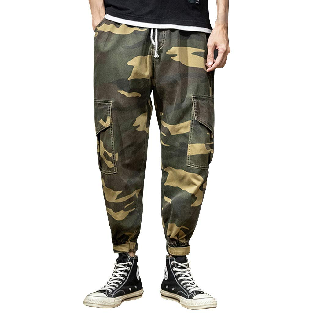 Palarn Casual Athletic Cargo Pants Clothes, Men's Summer Leisure Camouflage Overalls Fashion Multi-Pocket Trousers
