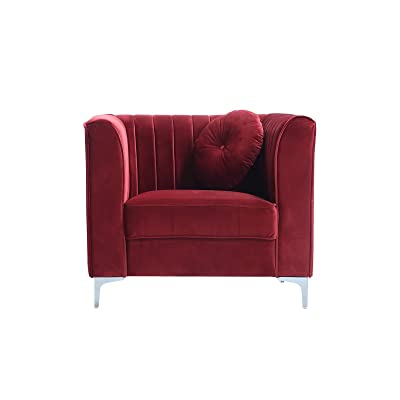 Classic And Traditional Living Room Marilyn Velvet Armchair, Club Chair  With Tufted Accent Pillows (