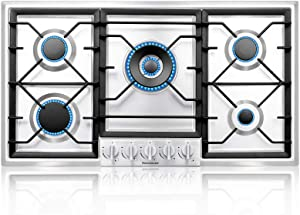 thermomate Gas Cooktop, Recessed Gas Rangetop with High Efficiency Burners, NG/LPG Convertible Stainless Steel Gas Stove Top with Thermocouple Protection, 120V AC (36 INCH)