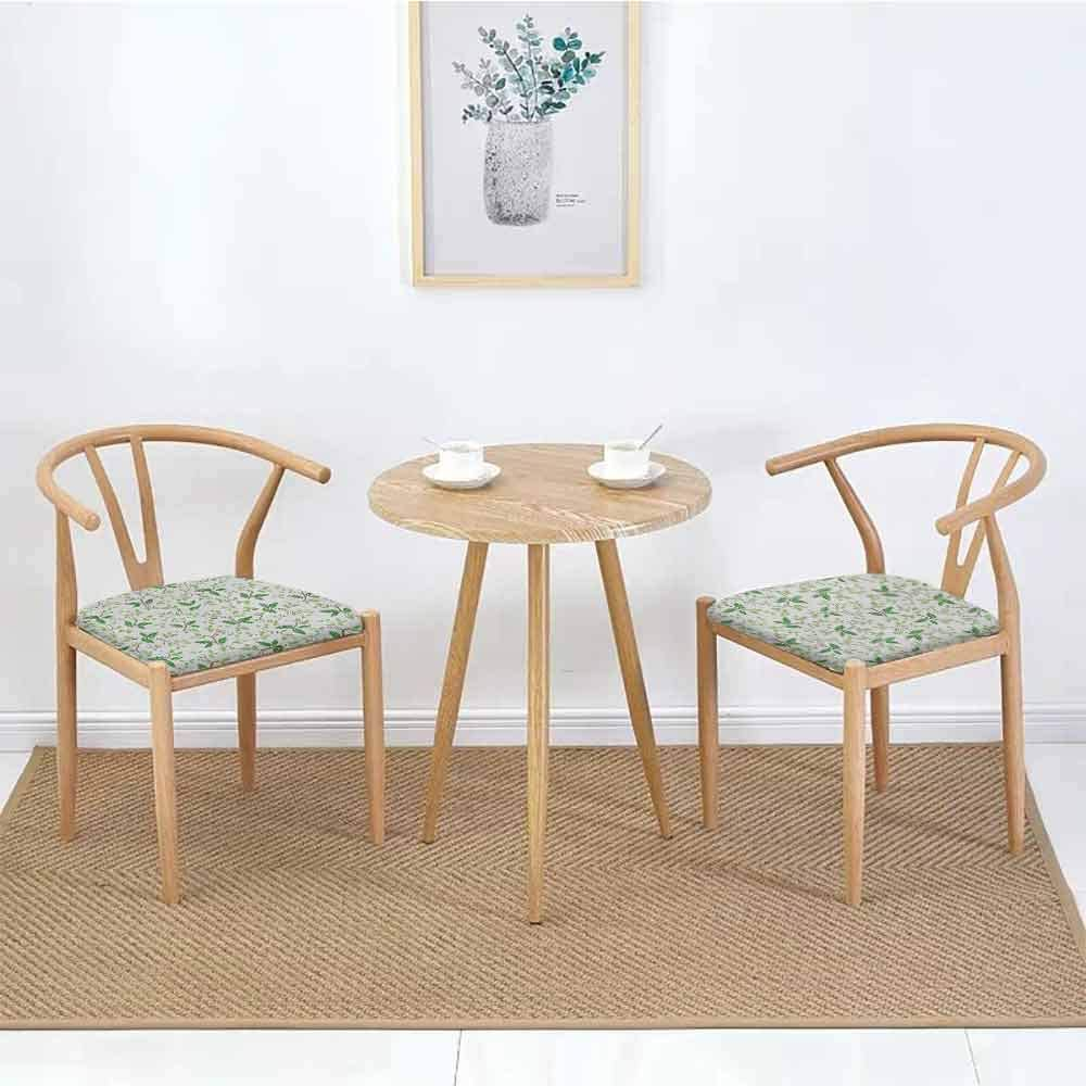 "Leaf Square Dining Chair Pad Ivy Patterns with Tiny Fancy Green Leaves Branches Creme Contemporary Illustration Chair Pad Green Brown W27.5"" x L27.5""/2pcs Set"
