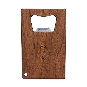 Cartón de leche Abridor de botellas con mango de madera, acero inoxidable tamaño de tarjeta de Crédito, abrebotellas para su cartera, tamaño de tarjeta de ...