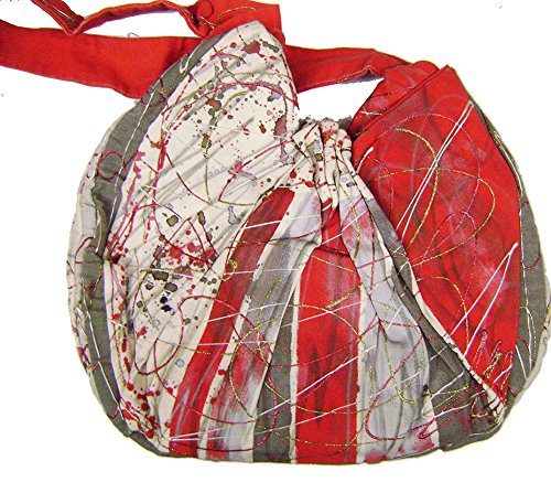 "Modestone Marriott Women's Glitter Hand Painted Canvas Bag 15 1/2"" x 14"" Red"