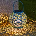 Solar Big Lantern Hanging Garden Outdoor Lights Metal Waterproof LED Table Lamp Decorative (Renewed)