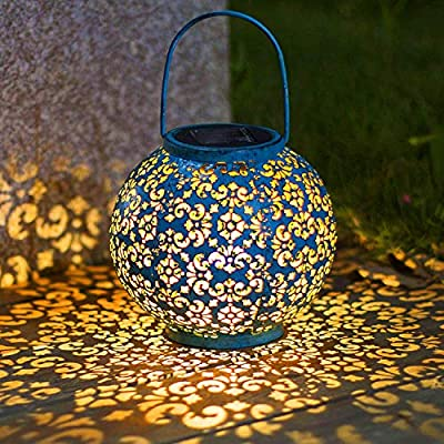 Solar Big Lantern Hanging Garden Outdoor Lights Metal Waterproof LED Table Lamp Decorative (Renewed)