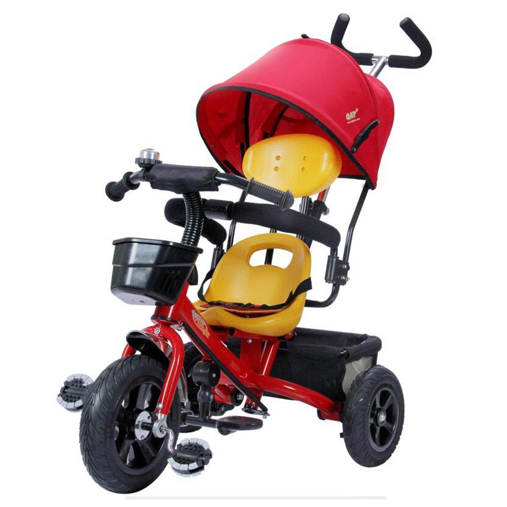 HAIZHEN マウンテンバイク 子供用三輪車1-5歳調整サンシェード日焼け防止アンチUV自転車ショックアブソーバ非膨張式チタン空ホイールトローリーベビーキャリッジ 新生児 B07DL63CGQ 赤 赤