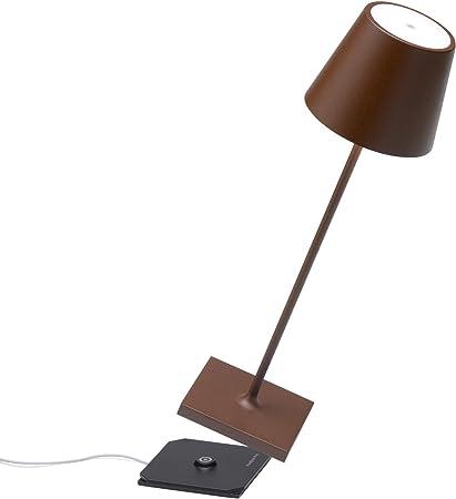 Zafferano Poldina Pro-Lámpara LED de Mesa Regulable (Aluminio, protección IP54, Uso en Interiores y Exteriores, estación de Carga de Contacto, Altura ...