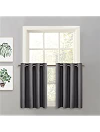 K7 Ivory 3 Piece Insulated Blackout Curtain Treatment with Grommets for Small Windows Set Includes Two 2 Panels 28 W x 24 L Each and One 1 Matching Valance 56 W x 14 L 375517749801