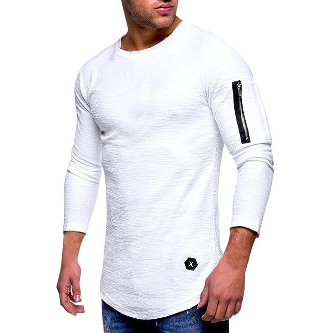 Resplend Tops Casuales para Hombre Camiseta con Cremallera de Manga Larga Blusa con Cuello Redondo y Pliegue en Color Liso: Amazon.es: Ropa y accesorios