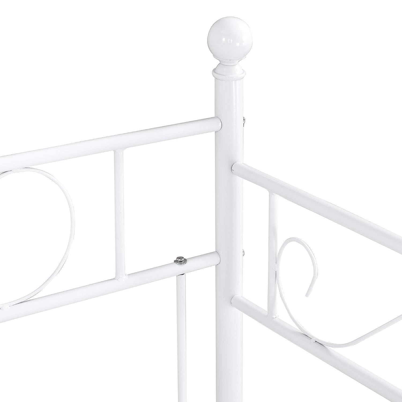 /® en.casa Cama con esctructura de Metal para Una Persona Armaz/ón de dise/ño 200 x 100cm Sof/á Div/án Blanco