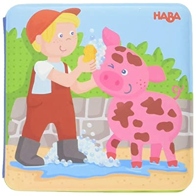 "HABA Animal Wash Day - Magic Bath Book - Wipe with Warm Water and the ""Muddy"" Pages Come Clean: Toys & Games"