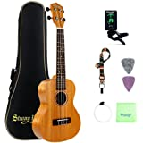 Mahogany Concert Ukulele Beginners, Strong Wind 23 Inch Natural Uke Ukulele Starter Kit with Tuner, Professional Aquila Strings, Strap, Picks and Carrying Bag for Adults Kids Children Students