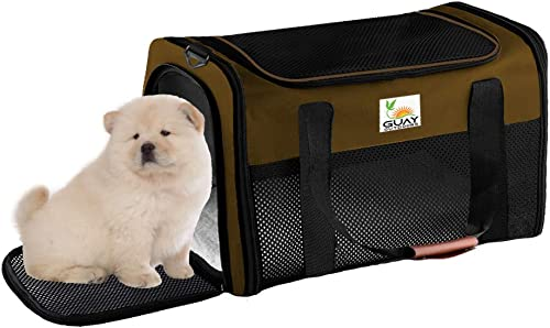 Guay Pets Soft Sided Pet Carrier for Dogs and Cats- Airline Approved – Ventilated Mesh Cage – Transport Travel Duffle Bag Small to Medium for Kitten Puppy Up to 16 lbs