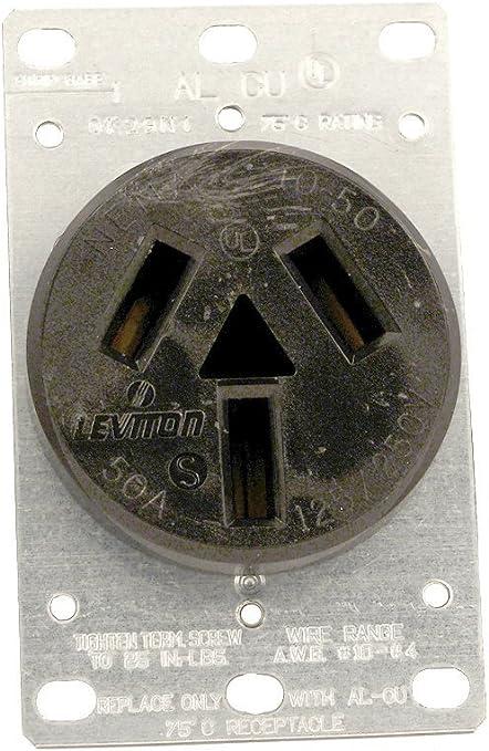 Leviton  Electrical Receptacle  50 amps 10-50R  125//250 volts Black