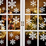Naler 96pcs Christmas Window Stickers Decals, Snowflake Vinyl Clings Glueless PVC Wall Windows Glass Sticker for Xmas Party Decoration