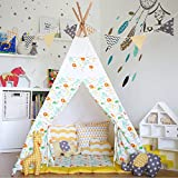 Love Tree Canvas Teepee Children Playhouse Canopy Tent Yellow Lion Style