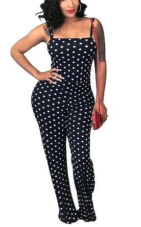 316f8bc271a8 LKOUS Womens Summer Spaghetti Strap Sleeveless Polka Dot Print Bodycon Wide  Leg Pants Jumpsuits Rompers Plus
